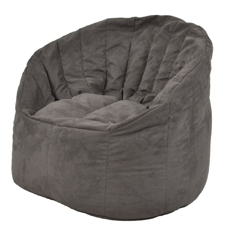 Living & Co Bean Bag Chair Cover Grey Suede Look 300L, , hi-res