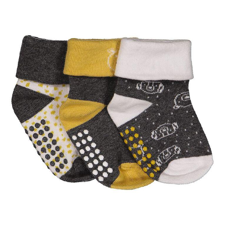 H&H Infants' Turn Top Bootie Socks 3 Pack, Grey Dark, hi-res