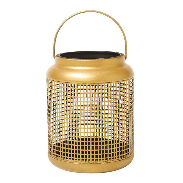 Living & Co Grid Lantern Gold 12cm x 16cm, , hi-res
