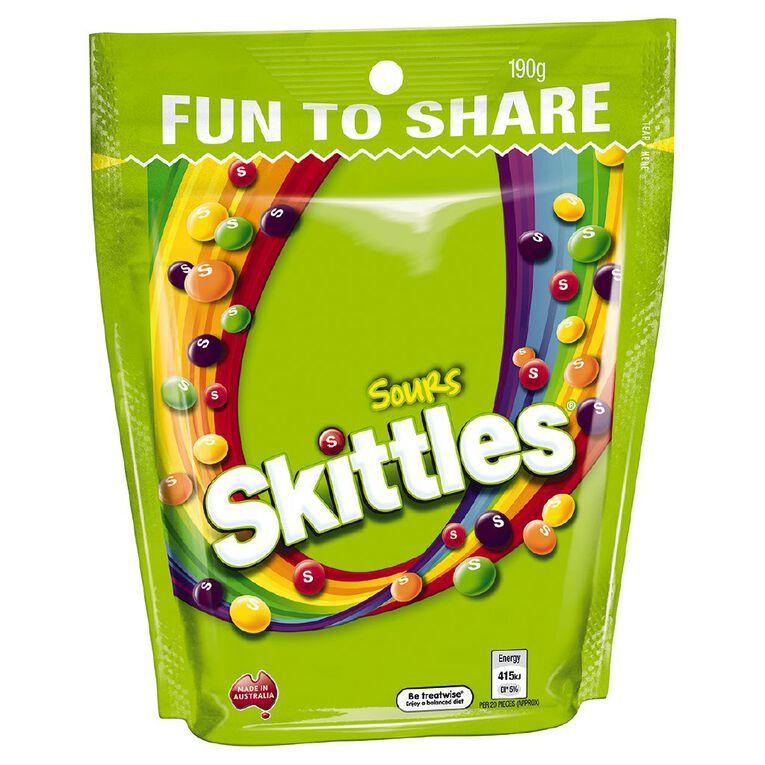 Skittles Sours Lollies Large Bag 190g, , hi-res