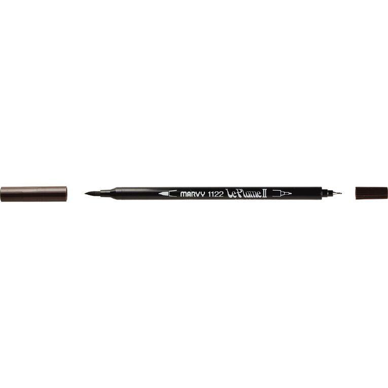 MARVY Le Plume II Dual Tip Marker Dark Brown, , hi-res