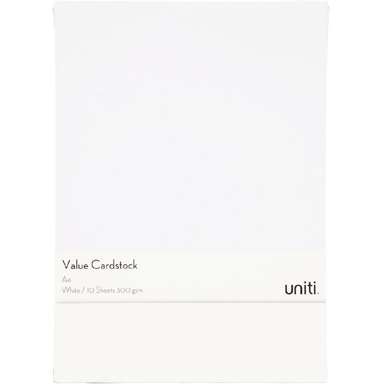 Uniti Value Cardstock 300gsm 10 Pack White A4, , hi-res