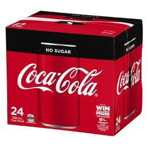 Coca Cola Soft Drink No Sugar Cans 24x330ml