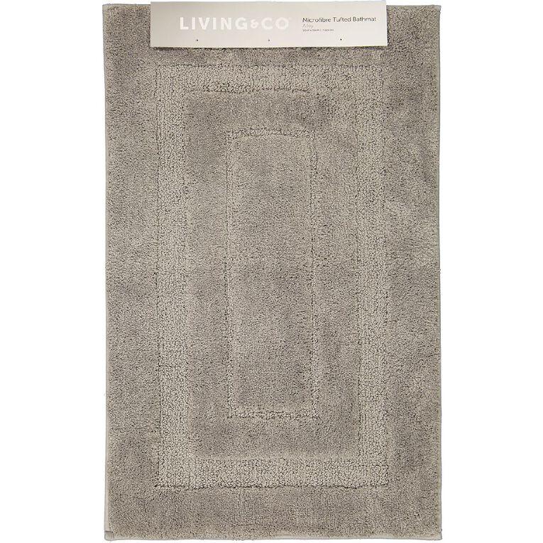 Living & Co Bath Mat Vienna Tufted Microfibre Grey Light 50cm x 80cm, Grey Light, hi-res image number null