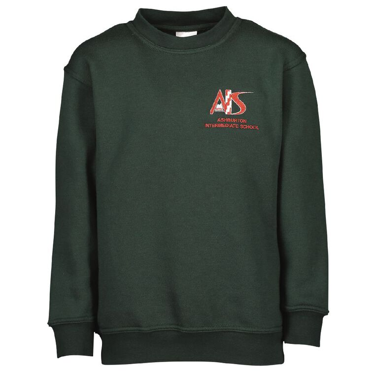 Schooltex Ashburton Intermediate Sweatshirt with Embroidery, Bottle Green, hi-res