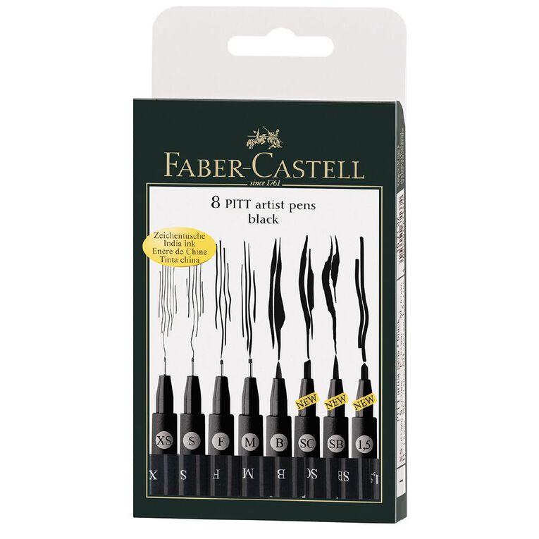 Faber-Castell Pitt Artist Pens Black 8 Pack, , hi-res