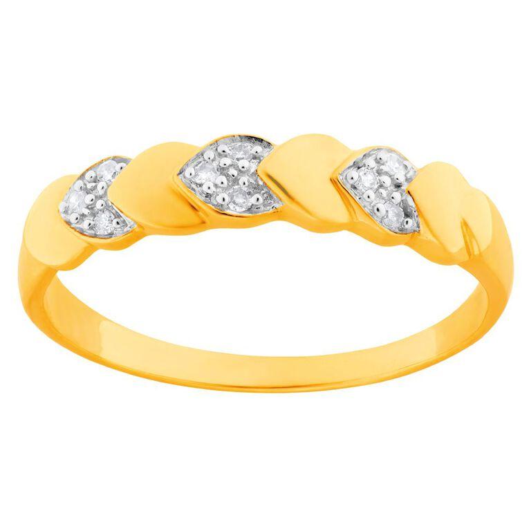 0.04 Carat Diamond 9ct Gold Heart Band Ring, Yellow Gold, hi-res