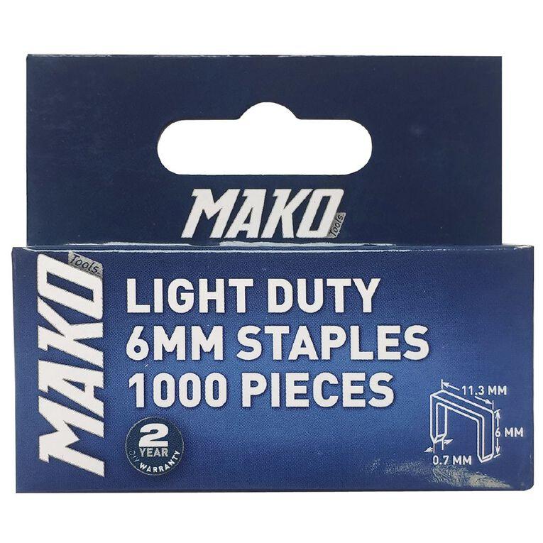 Mako Light Duty Staples 1000 6mm, , hi-res
