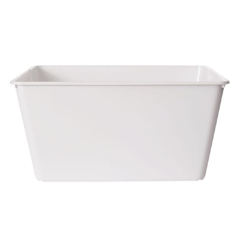 Living & Co Stackable Tub Rectangle White 4.5L, , hi-res