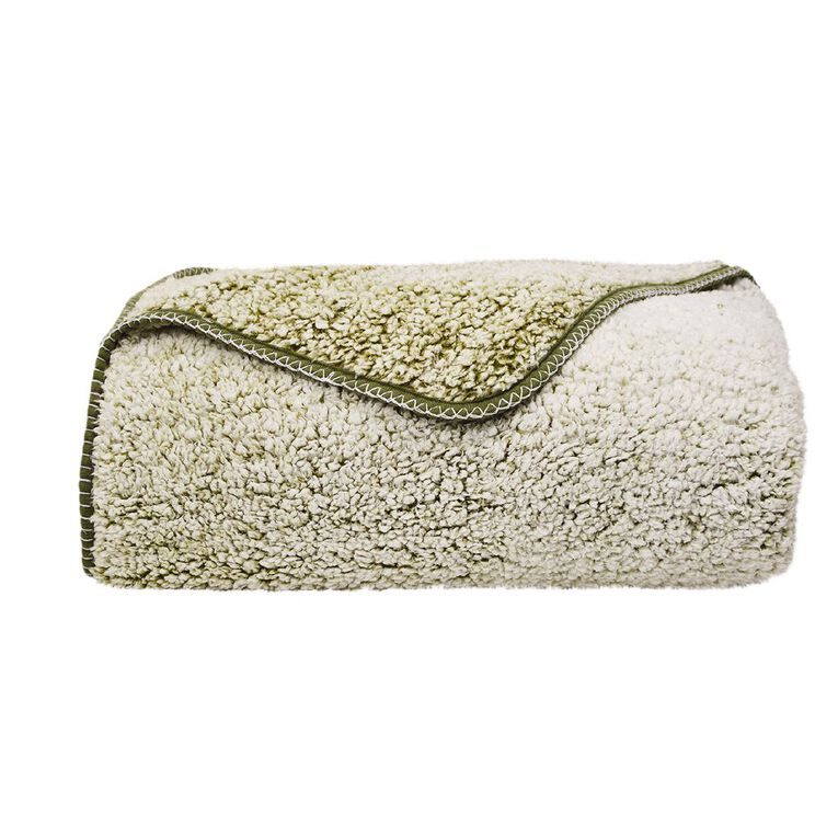 Living & Co Blanket Sherpa Teddy Pesto Green One Size, , hi-res