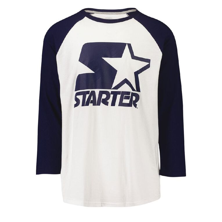 Starter Men's Baseball Tee, White/Navy, hi-res
