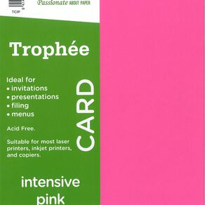 Trophee Card 160gsm 15 Pack Intensive Pink A4