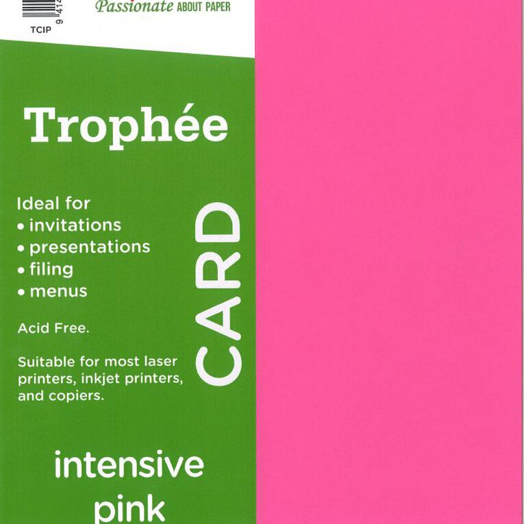 Trophee Card 160gsm 15 Pack Intensive Pink A4, , hi-res