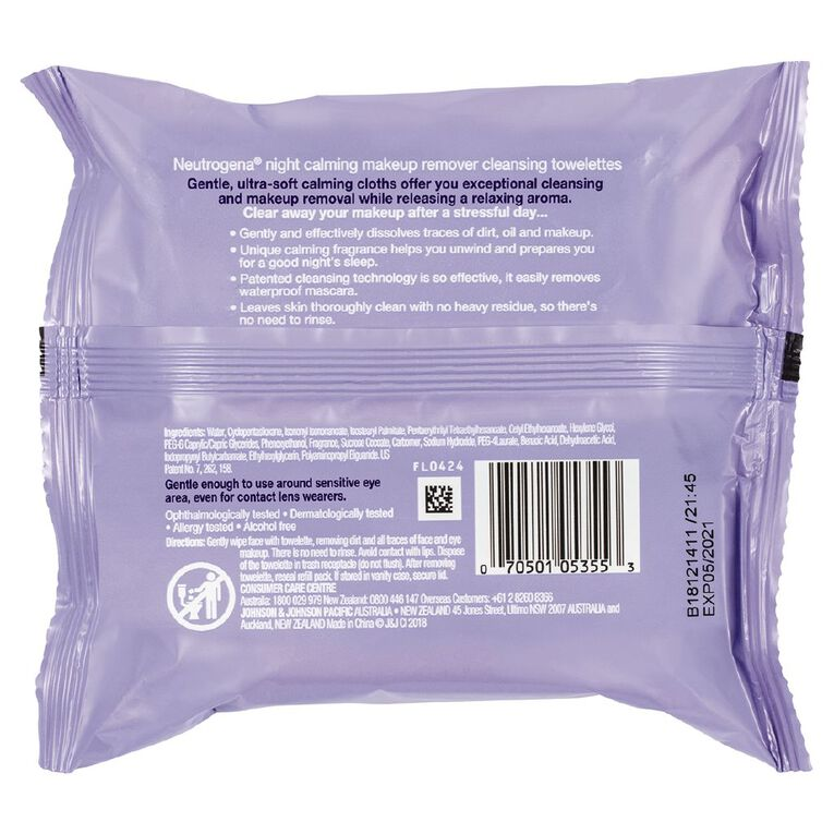 Neutrogena Night Calming Make-Up Remover Cleansing Towelettes 25 Pack, , hi-res