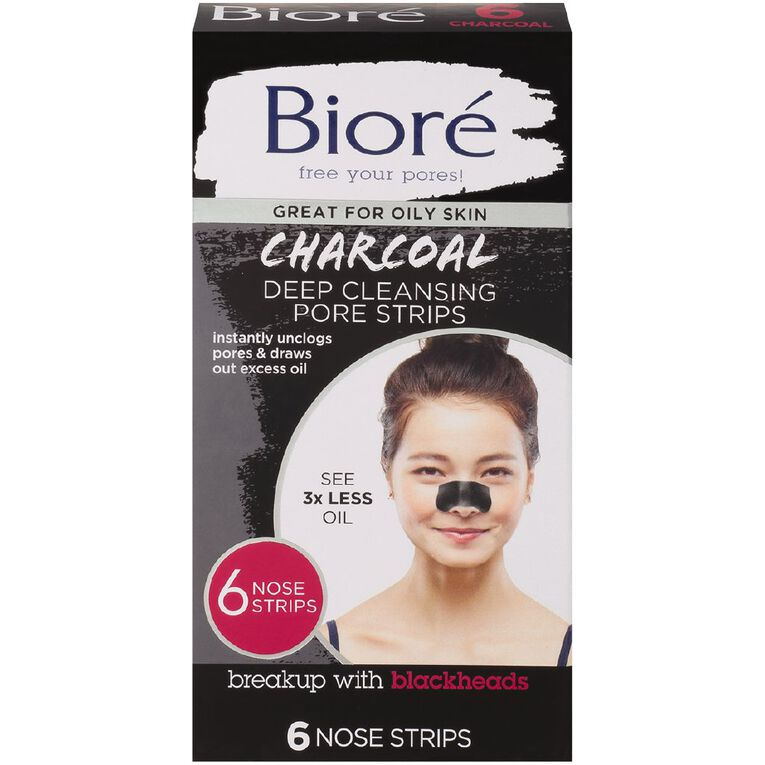 Biore Deep Cleansing Charcoal Pore Strips 6 Pack, , hi-res