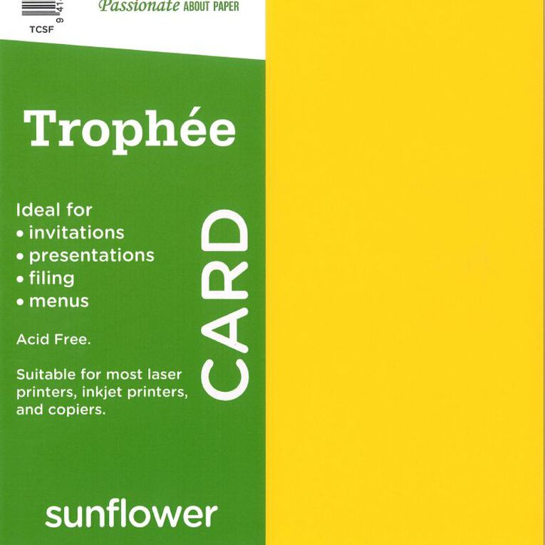 Trophee Card 160gsm 15 Pack Sunflower Yellow A4, , hi-res