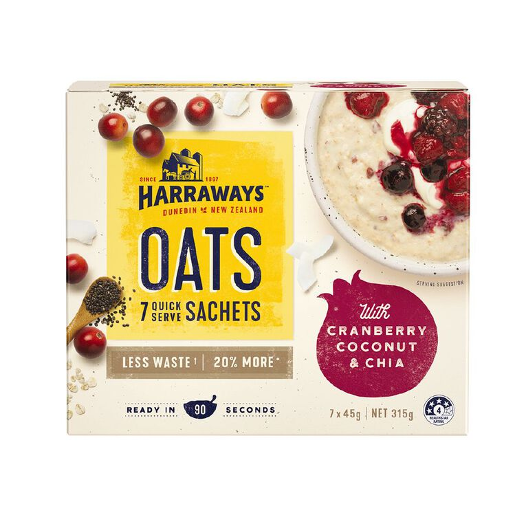 Harraways Chia Coconut Cranberry 7 Sachets 315g, , hi-res