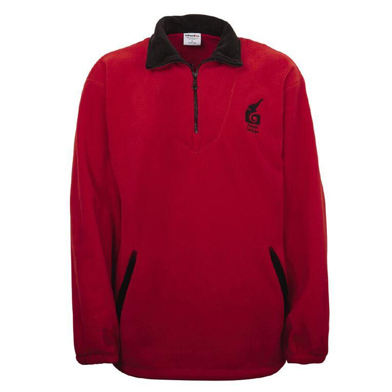 Schooltex Piopio College Polar Fleece Top with Embroidery, Red/Black, hi-res