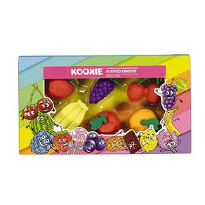 Kookie Novelty Eraser Set Scented 6 Pack Fruits Multi-Coloured
