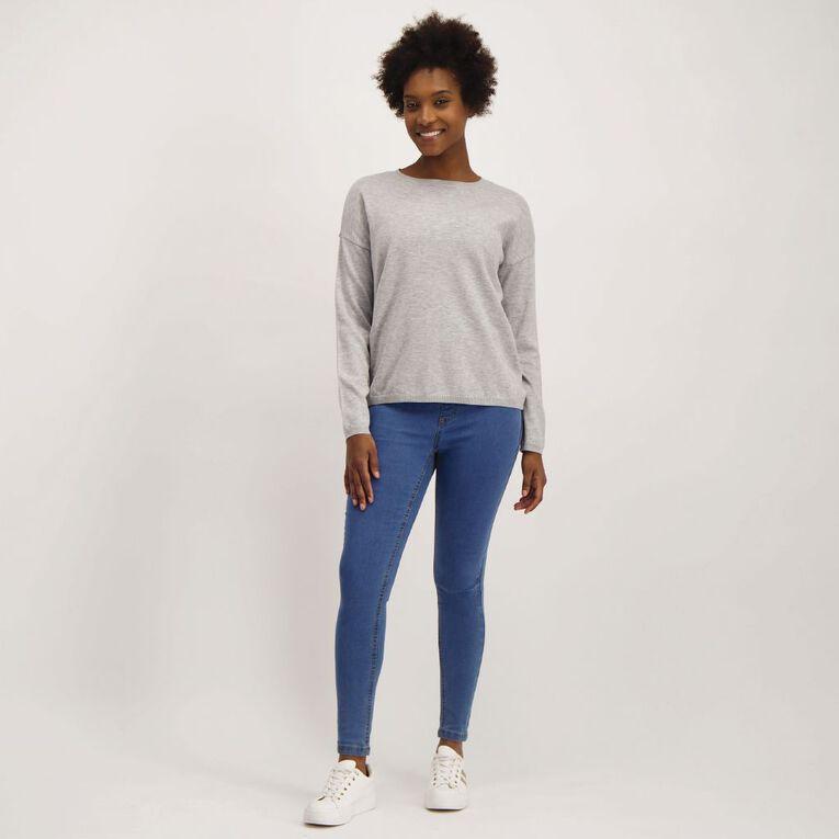 H&H Women's Long Sleeve Drop Shoulder Core Jumper, Grey Marle, hi-res