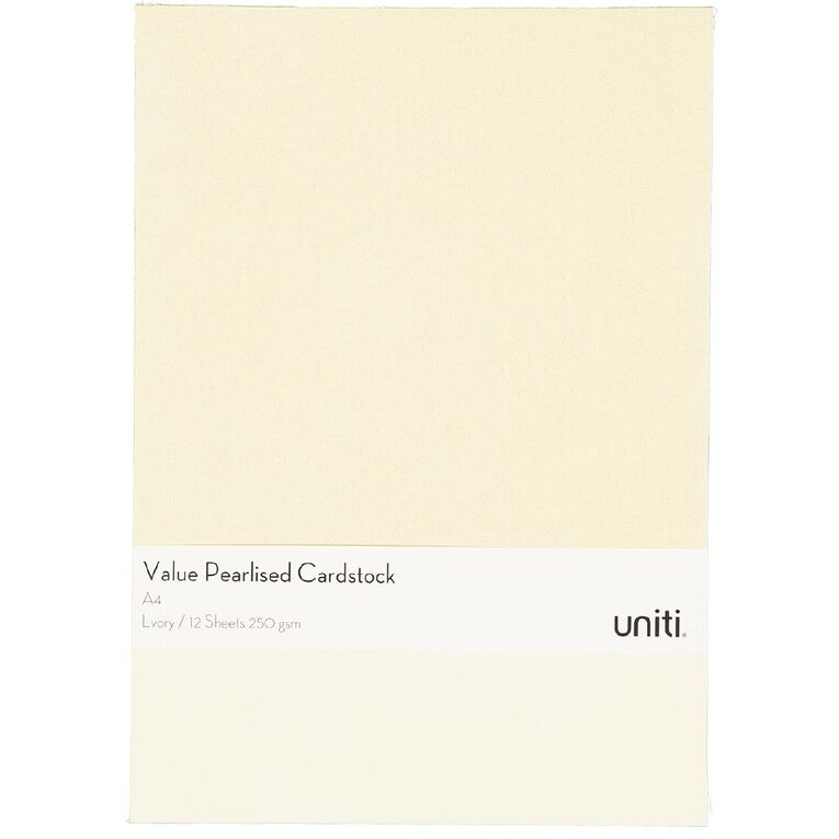 Uniti Value Cardstock Pearlized 250gsm 12 Sheets Ivory A4, , hi-res