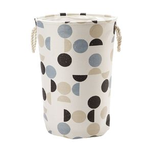 Living & Co Canvas Hamper with Rope Handles Geo Multi-Coloured