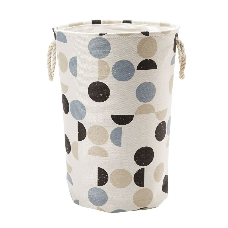 Living & Co Canvas Hamper with Rope Handles Geo Multi-Coloured, , hi-res