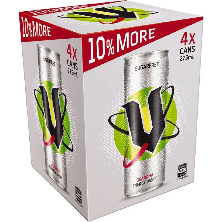 V Energy Drink Sugar Free 275ml 4 Pack, , hi-res