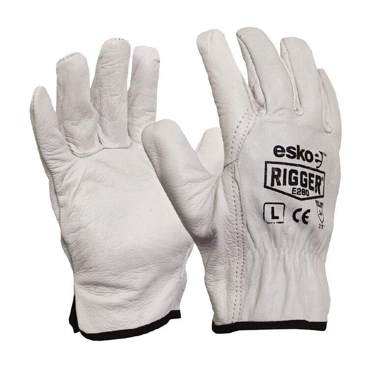 Esko Natural Cowgrain 'A' Grade Rigger Glove White XL, White, hi-res