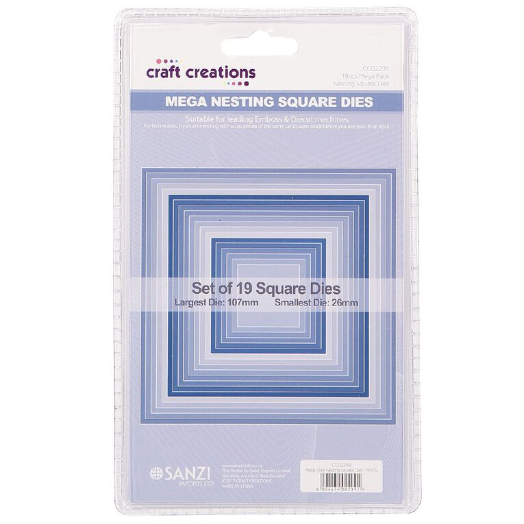 Craft Creations Nesting Dies Square 19 Piece, , hi-res