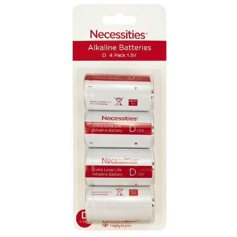 Necessities Brand Alkaline Batteries LR20 D 4 Pack, , hi-res