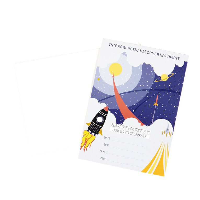 Party Inc Star Invitations with Envelopes 17.5cm x 12.5cm 8 Pack, , hi-res image number null