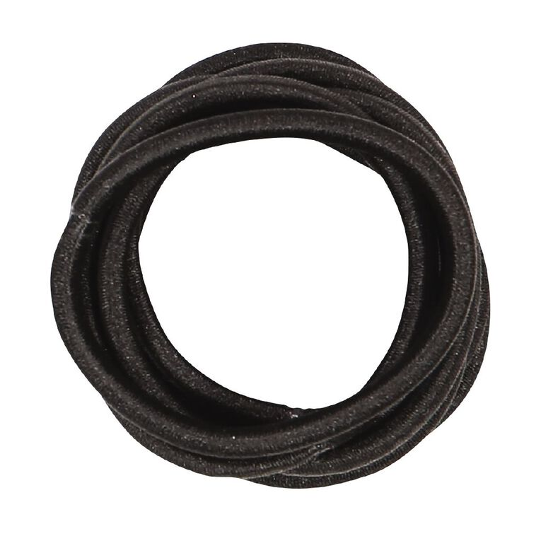 Colour Co. Hair Large Thick Snagless Elastics Black 10 Pack, , hi-res image number null
