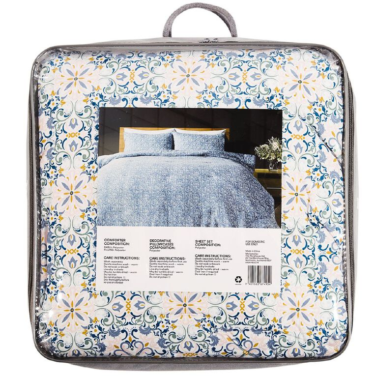 Living & Co Comforter Set 7 Piece Alexis Multi-Coloured Queen, Multi-Coloured, hi-res