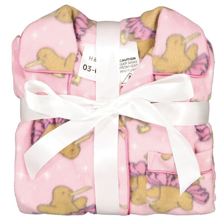 H&H Girls' Fleece Pyjamas, Pink Mid, hi-res
