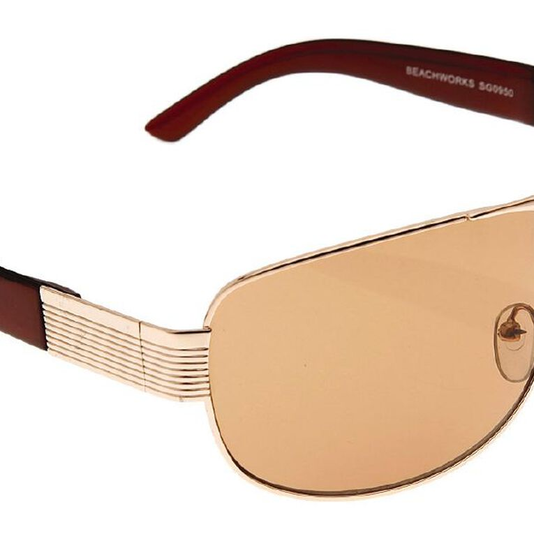 Beach Works Women's Metal Wrap Sunglasses, Gold, hi-res