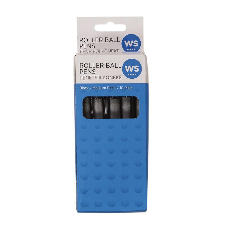 WS Roller Ball Pen Black 10 Pack, , hi-res