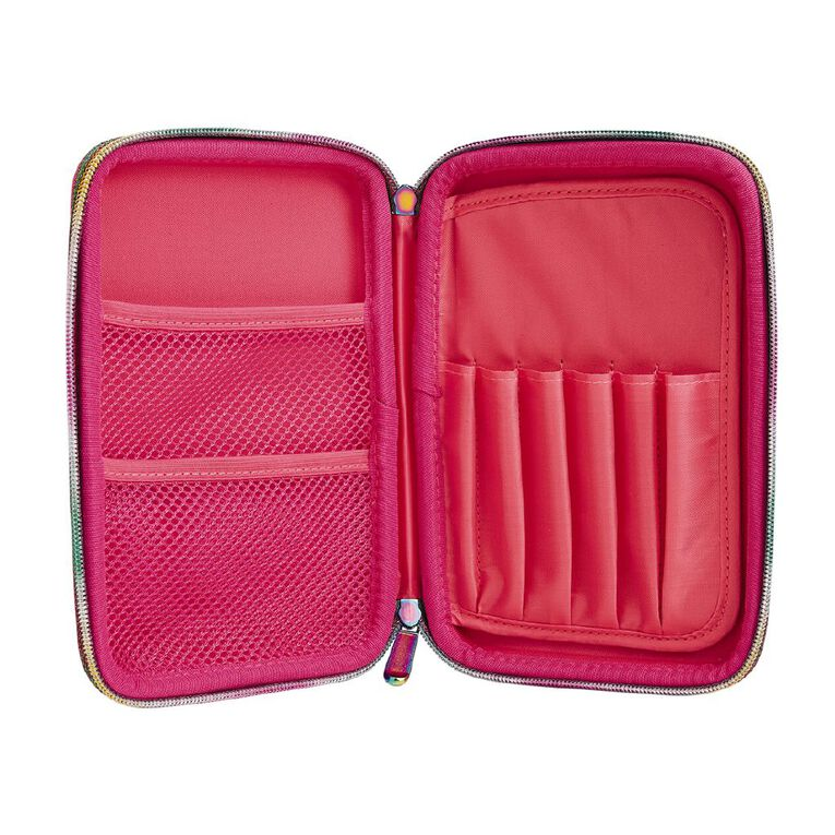 Kookie Bright Pencil Case Hard Top Rainbow Pink, , hi-res