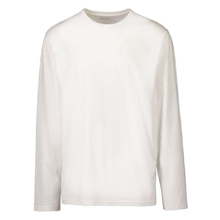H&H Men's Crew Neck Long Sleeve Plain Tee, White, hi-res image number null