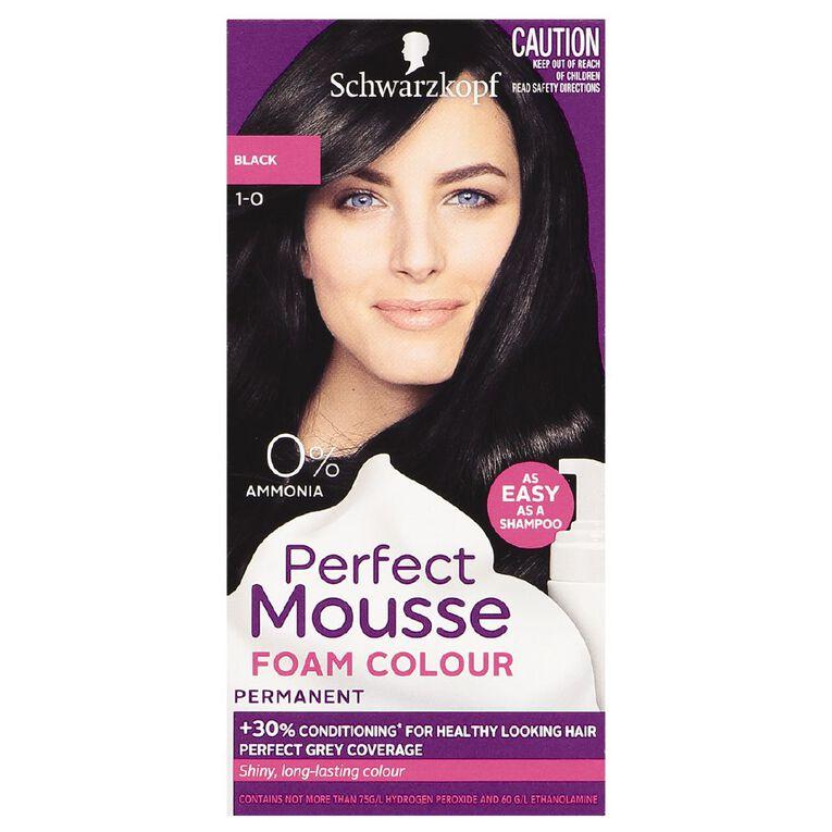 Schwarzkopf Perfect Mousse Hair Colour 1-0 Black, , hi-res