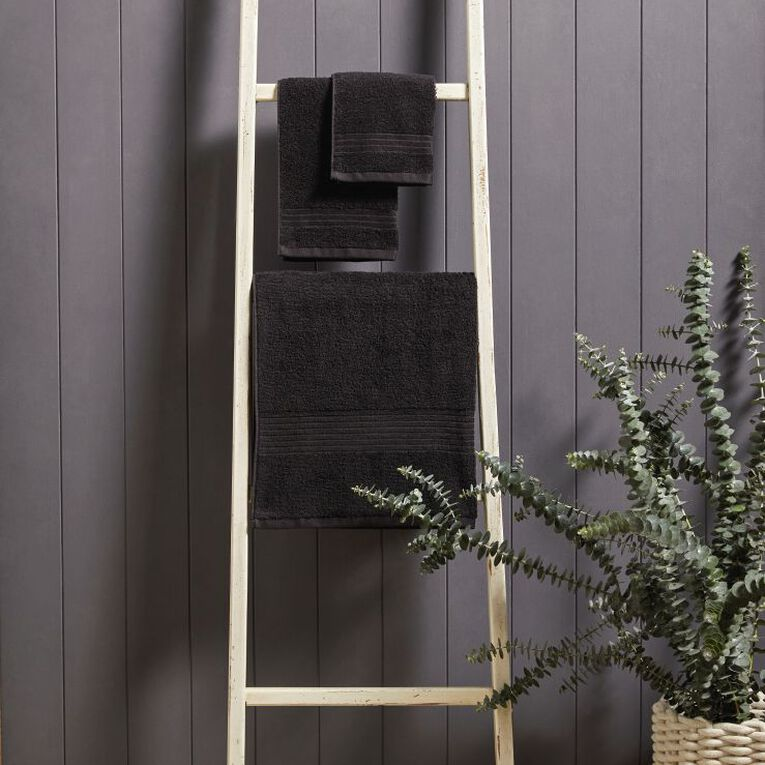 Living & Co Manhattan Hand Towel Black 35cm x 55cm, Black, hi-res
