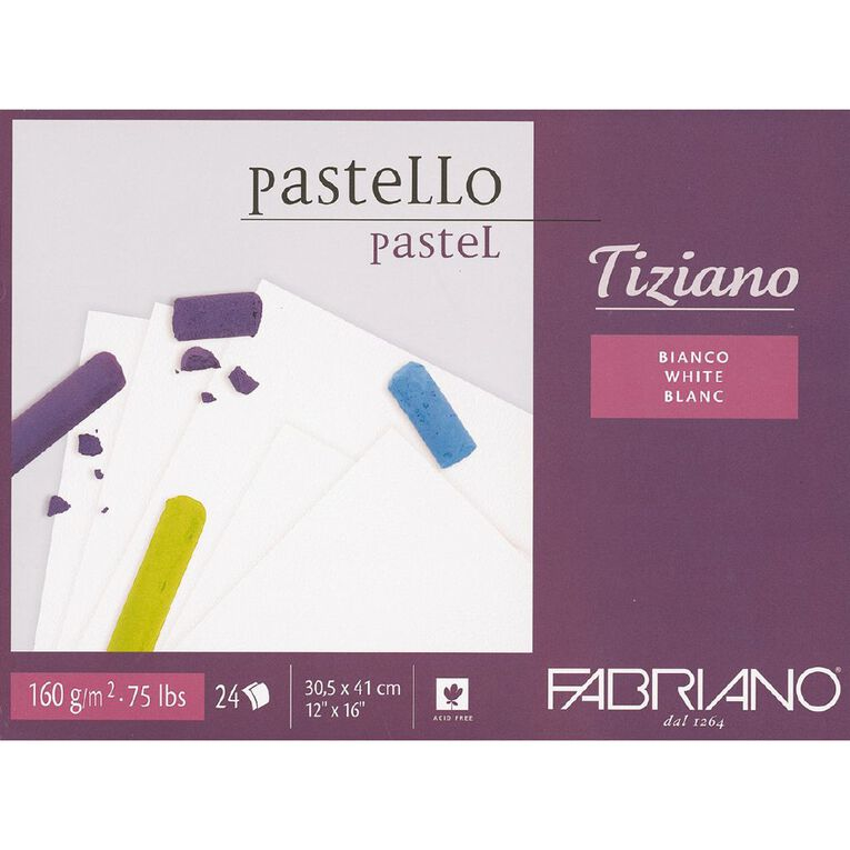 Fabriano Tiziano Pastel Art Pad 160GSM White 12in x 16in, , hi-res