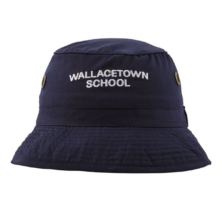 Schooltex Wallacetown Bucket Hat with Embroidery, Navy, hi-res