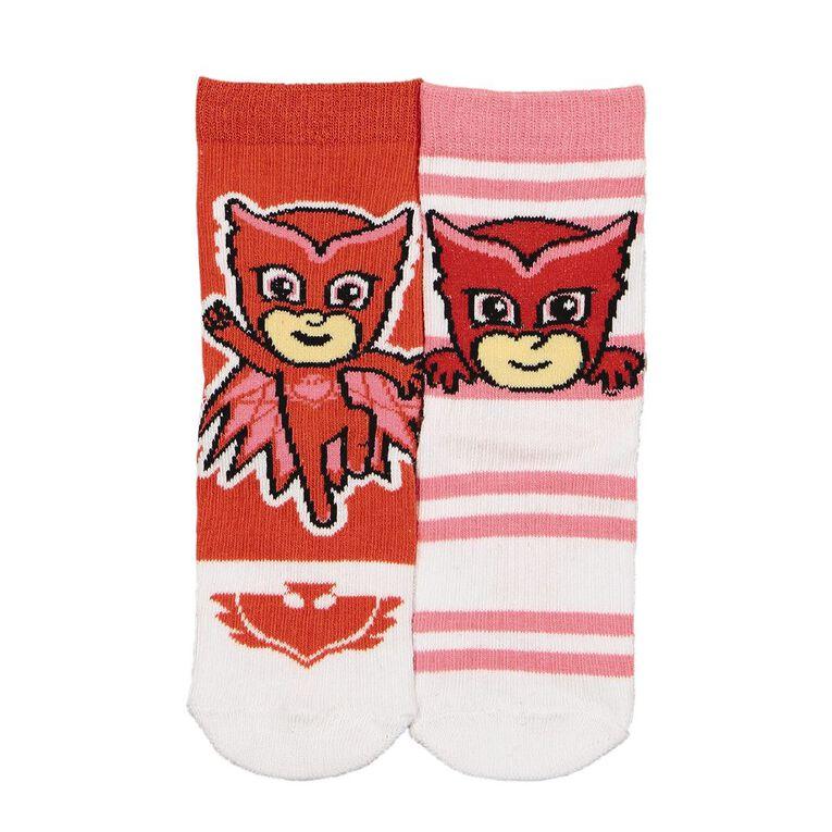 PJ Masks Girls' Crew Socks 2 Pack, Red, hi-res