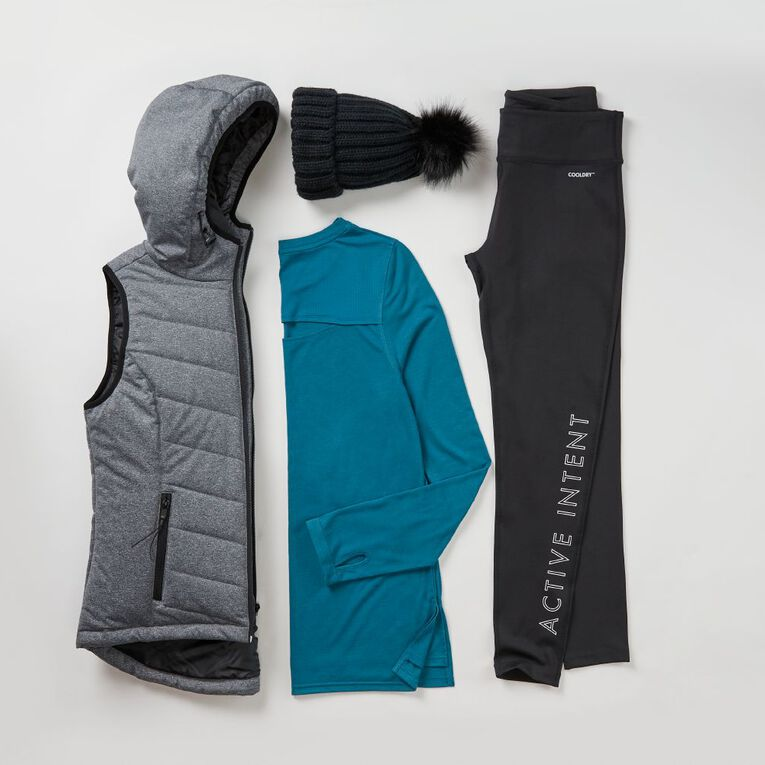 Active Intent Women's Marle Puffer Vest, Charcoal/Marle, hi-res