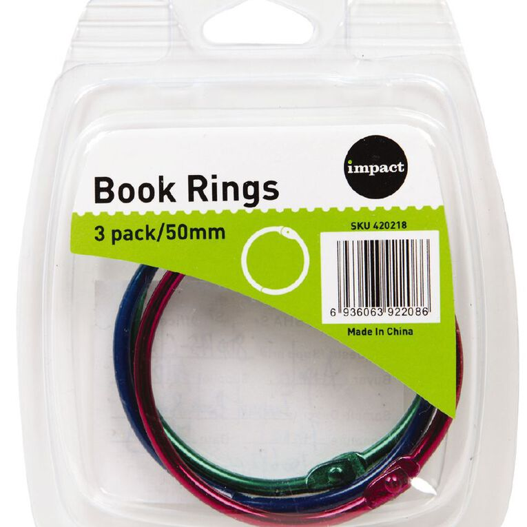 Impact Book Rings 50mm 3 Pack Colour, , hi-res