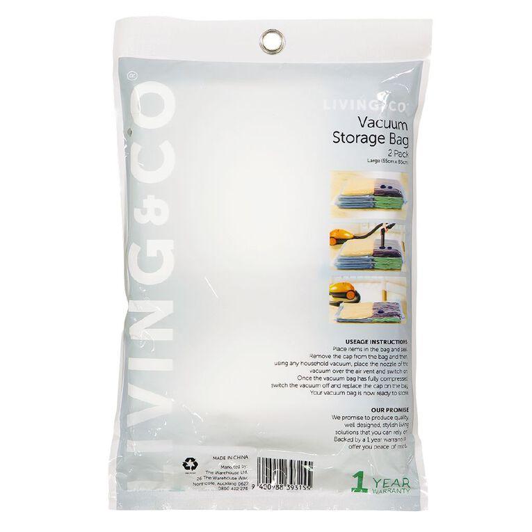 Living & Co Vacuum Storage Bag Large Clear 2 Pack, , hi-res image number null