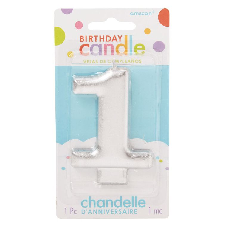 Candle Metallic Numeral #1 Silver, , hi-res