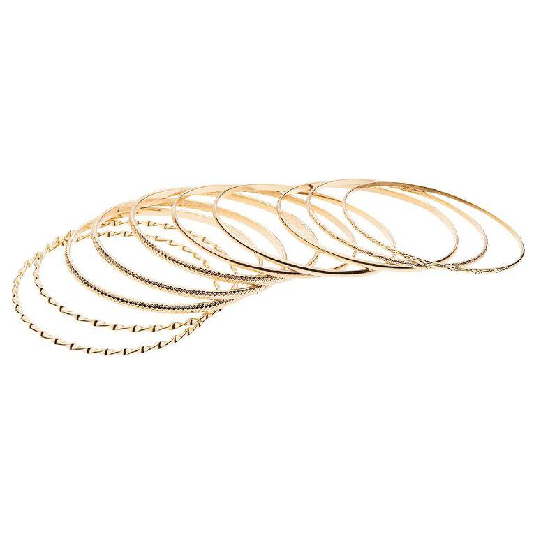 Basics Brand Textured Bangle Gold Set, Gold, hi-res