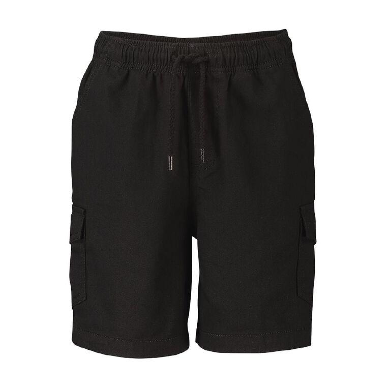 Young Original Plain Cargo Shorts, Black, hi-res